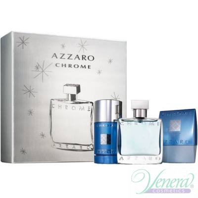 Azzaro Chrome Комплект (EDT 50ml + AS Balm 75ml + Deo Stick 75ml) за Мъже