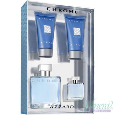 Azzaro Chrome Комплект (EDT 50ml + EDT 7ml + AS Balm 50ml + SG 50ml) за Мъже Мъжки Комплекти