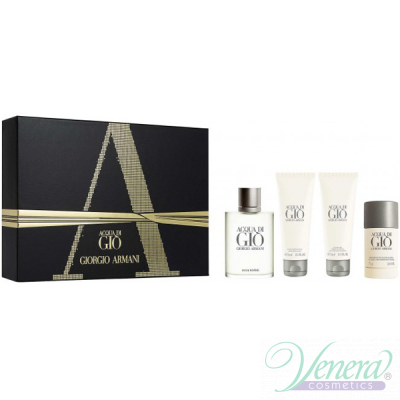 Armani Acqua Di Gio Set (EDT 100ml + AS Balm 75ml + SG 75ml + Deo Stick 75ml) pentru Bărbați