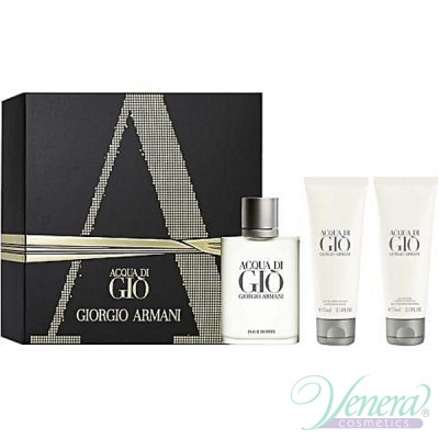 Armani Acqua Di Gio Комплект (EDT 100ml + AS Balm 75ml + SG 75ml) за Мъже Мъжки Комплекти