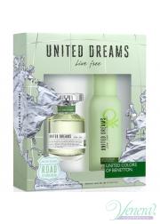Benetton United Dreams Live Free Set (EDT 80ml + Deo Spray 150ml) για γυναίκες Γυναικεία Σετ