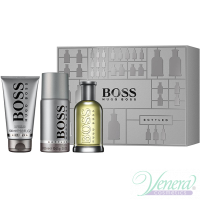 Boss Bottled Комплект (EDT 100ml + Deo Spray 150ml + SG 100ml) за Мъже