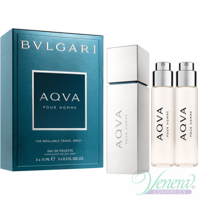 Bvlgari Aqva Pour Homme Refillable Travel EDT 3x15ml για άνδρες Ανδρικά Αρώματα