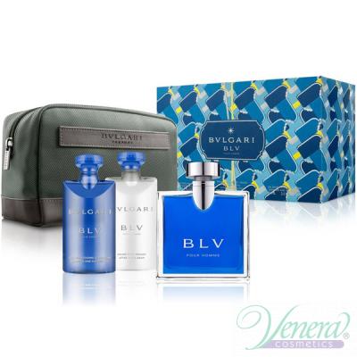 Bvlgari BLV Pour Homme Комплект (EDT 100ml + AS Balm 75ml + SG 75ml + Bag) за Мъже Мъжки Комплекти