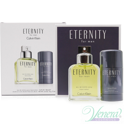 Calvin Klein Eternity Комплект (EDT 100ml + Deo Stick 75ml) за Мъже