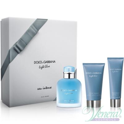 D&G Light Blue Eau Intense Pour Homme Комплект (EDP 100ml + AS Balm 75ml + SG 50ml) за Мъже Мъжки Комплекти