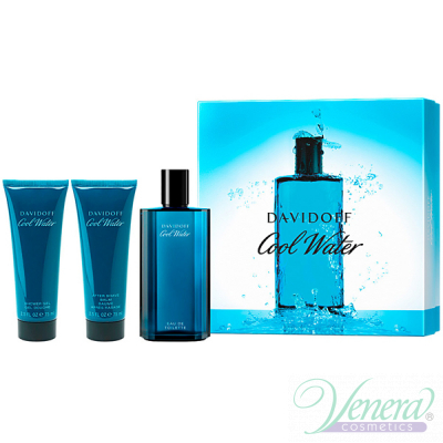 Davidoff Cool Water Set (EDT 125ml + AS Balm 75ml + SG 75ml) за Мъже Мъжки Комплекти