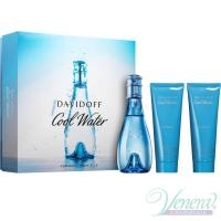 Davidoff Cool Water Комплект (EDT 100ml + BL 75ml + SG 75ml) за Жени Дамски Комплекти