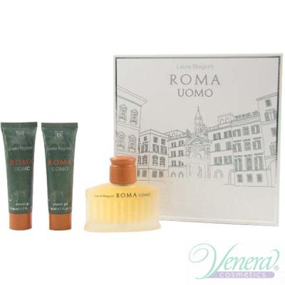 Laura Biagiotti Roma Uomo Комплект (EDT 75ml + SG 50ml + SG 50ml) за Мъже Мъжки Комплекти