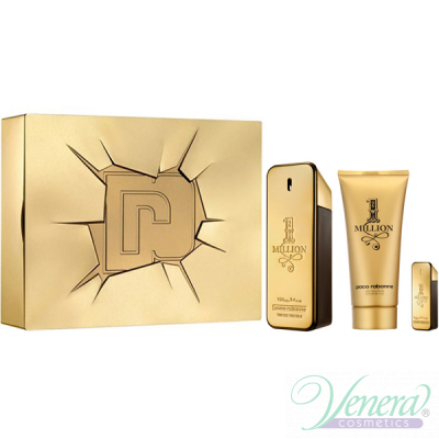 Paco Rabanne 1 Million Set (EDT 100ml + EDT 5ml + SG 100ml) pentru Bărbați Men's Gift Sets