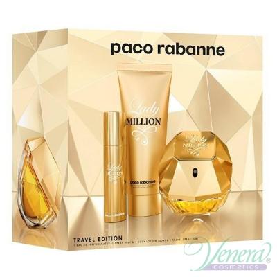 Paco Rabanne Lady Million Комплект (EDP 80ml + EDP 10ml + BL 100ml) за Жени Дамски Комплекти
