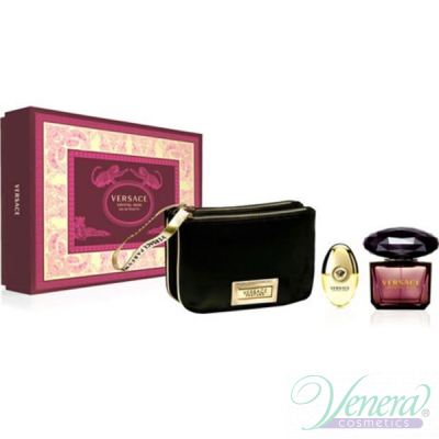 Versace Crystal Noir Set (EDT 90ml + EDT 10ml + Bag) pentru Femei Women's Gift sets
