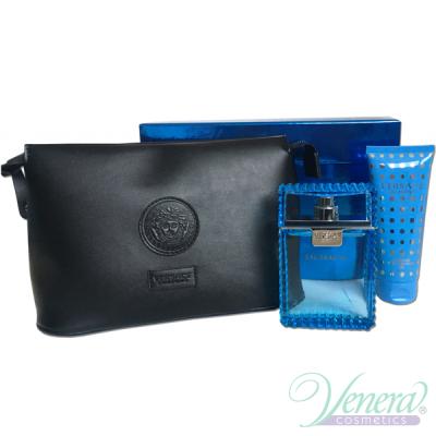 Versace Man Eau Fraiche Комплект (EDT 100ml +SG 100ml + Bag) за Мъже За Мъже