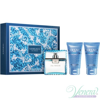 Versace Man Eau Fraiche Комплект (EDT 50ml + AS Balm 50ml + Shower Gel 50ml) за Мъже За Мъже