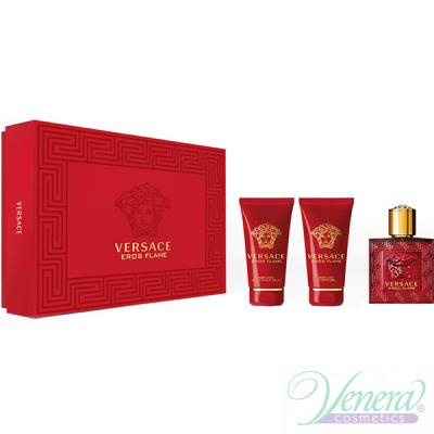 Versace Eros Flame Set (EDP 50ml + AS Balm 50ml + SG 50ml) за Мъже Мъжки Комплекти