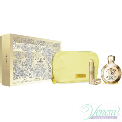 Versace Eros Pour Femme Комплект (EDP 100ml + EDP 10ml + Bag) за Жени Дамски Комплекти