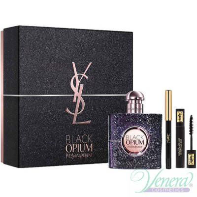 YSL Black Opium Nuit Blanche Комплект (EDP 50ml + Mascara 2ml + Pencil) за Жени