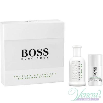 Boss Bottled Unlimited Комплект (EDT 100ml + Deo Stick 75ml) за Мъже Мъжки Комплекти