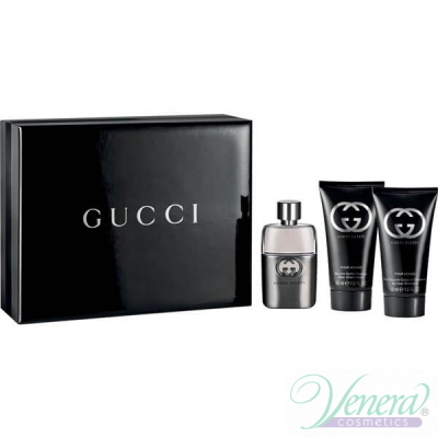 Gucci Guilty Pour Homme Комплект (EDT 50ml + After Shave Balm 50ml + SG 50ml) за Мъже За Мъже