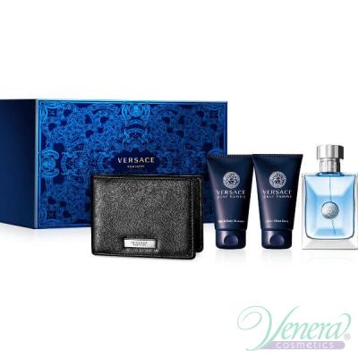 Versace Pour Homme Комплект (EDT 100ml + AS Balm 50ml + SG 50ml + Портфейл) за Мъже